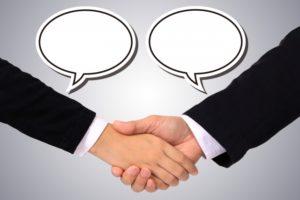 ビジネス 商談 握手 吹き出し