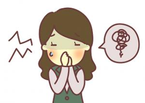 鼻をつまむ女性 イラスト