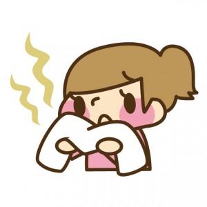 タオルの臭いが気になる女性 イラスト