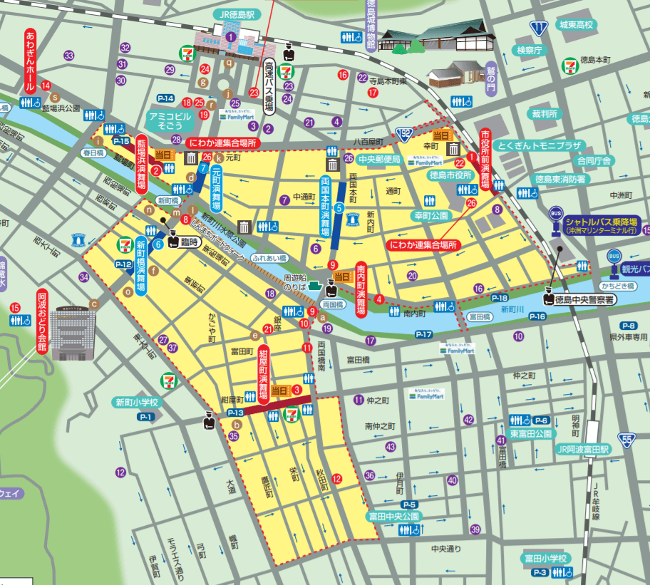 徳島阿波おどり 交通規制 駐車場 マップ