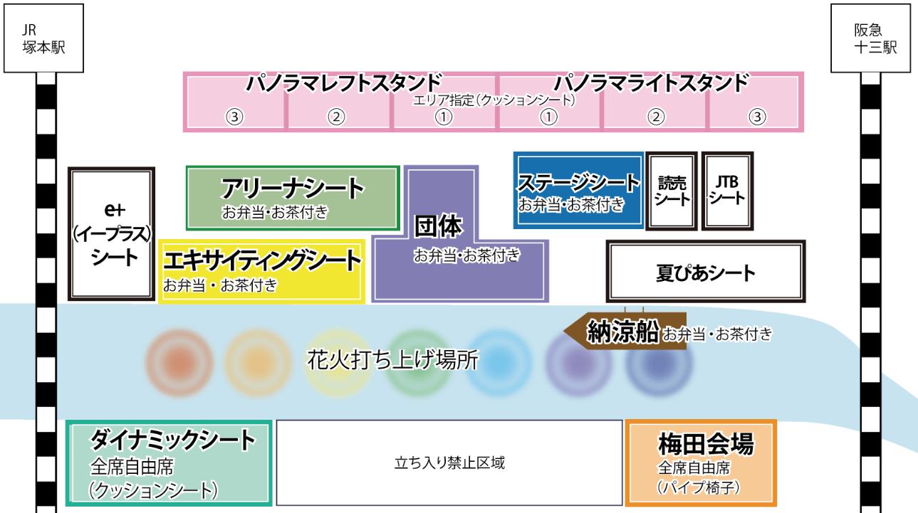 なにわ淀川花火大会 有料観覧席 マップ
