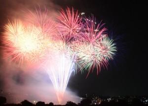 多摩川花火大会 豪快な打ち上げ花火