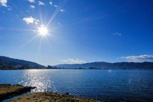 天気の良い日の諏訪湖
