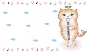 笛をふく猫 イラスト