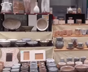 萩焼 陳列された陶器