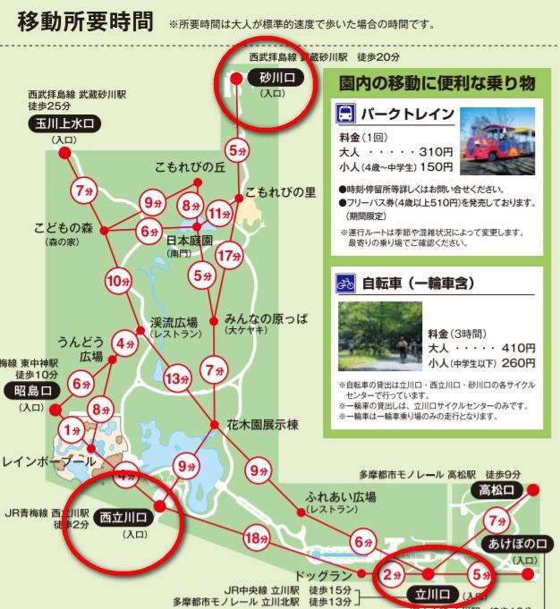 昭和記念公園 駐車場 地図