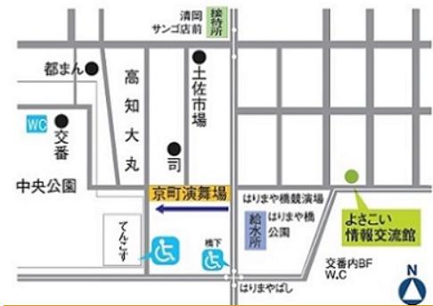 京町演舞場 高知よさこい祭り 地図