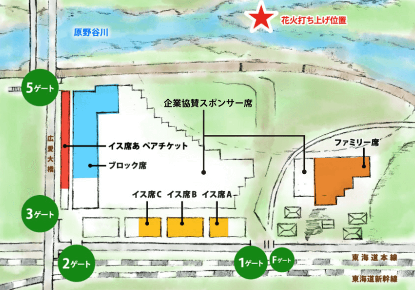 ふくろい遠州の花火 有料観覧席 地図