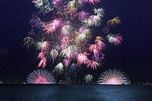 長野 諏訪湖 打ち上げ花火 水中花火