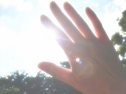 強い日差しを手で遮る