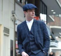 男性 スーツ ハンチング帽