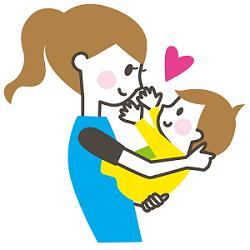 母と赤ちゃん 抱っこ イラスト