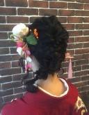 編み込み 髪型 着物