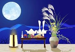 満月 お月見 団子 すすき イラスト