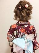 ミディアム 編み込み ルーズ 浴衣