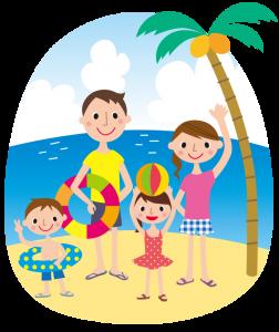 海水浴 家族