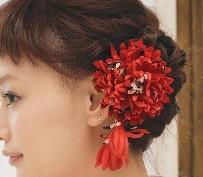 女性 髪型 ボブ アクセサリー 花飾り