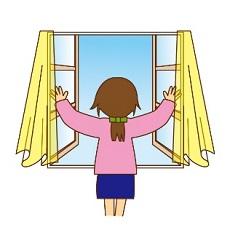 窓を開けて換気をする女性 イラスト