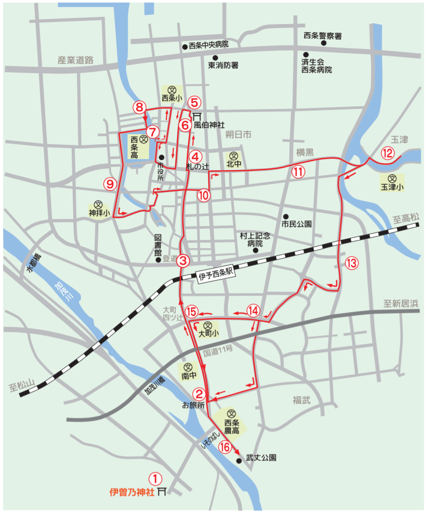 西条祭り 運行コース 地図 伊曽乃神社
