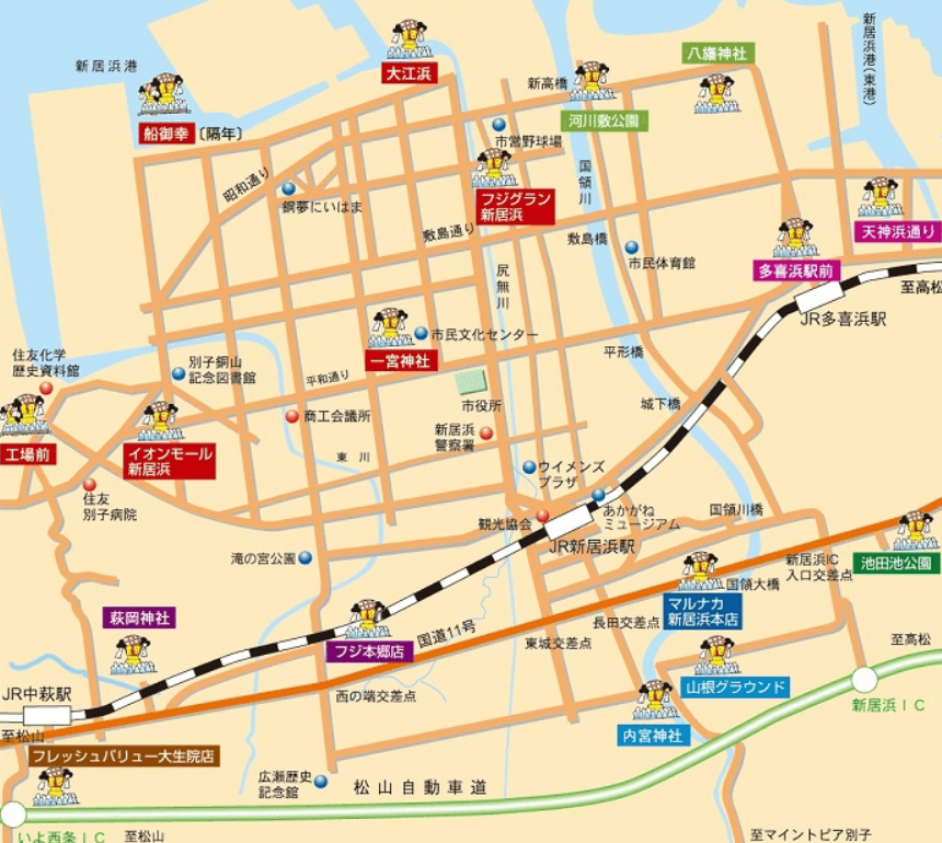 新居浜太鼓祭り かきくらべ 地図