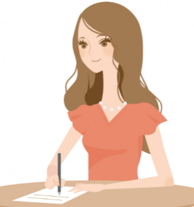 手紙を書く女性 イラスト