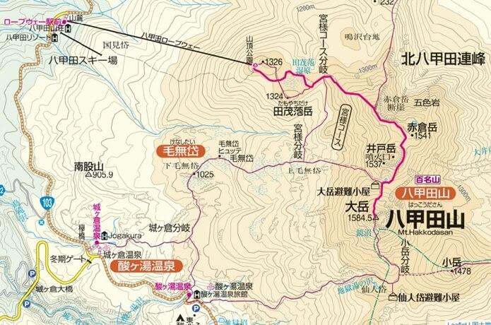 八甲田山 地図 大岳登山コース