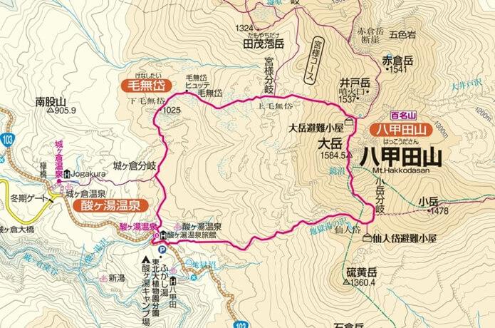 八甲田山 地図 酸ヶ湯温泉 コース