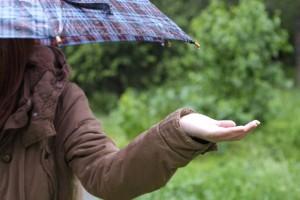 傘をさす女性と雨