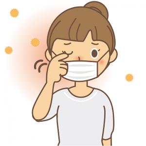 花粉症 目のかゆみ 女性 イラスト