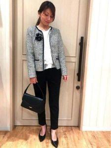 女性 パンツスーツ ツイードジャケット