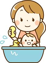 赤ちゃんをお風呂に入れるママ イラスト