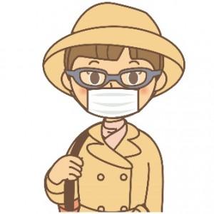 メガネ マスク 帽子 コート 女性 イラスト