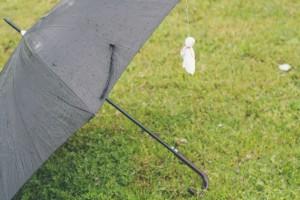 傘に吊るされたてるてる坊主