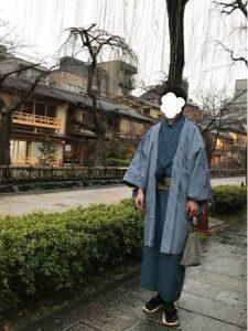 男性 グリーン系の着物