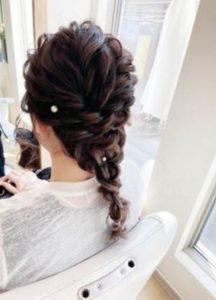 ロング 髪型 編み込み