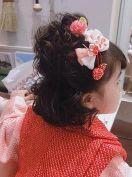 七五三 女の子 髪型 ミディアム ハーフアップ
