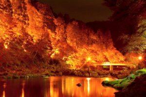 香嵐渓 紅葉 燃えるようなライトアップ
