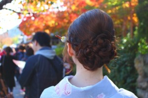 紅葉 京都 女性 着物