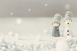 雪 少年と雪だるま クレイアート