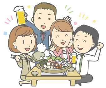 会社の忘年会 鍋 ビール イラスト