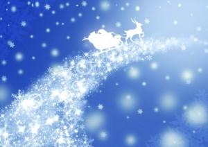 雪の結晶の道をソリで進むサンタクロース イラスト