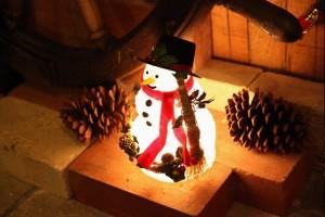 クリスマス 電灯雪だるま オブジェ