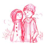 カップル 冬 学生