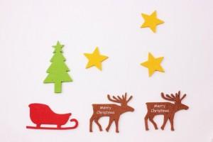 クリスマスメッセージカード トナカイ ソリ
