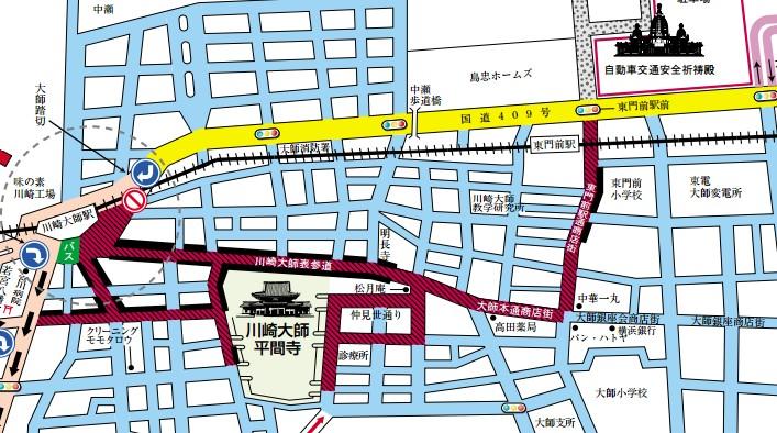川崎大師 初詣 交通規制