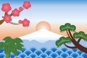 お正月 日の出 富士山