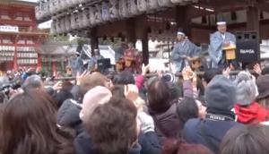 八坂神社 節分祭 豆まき たくさんの参拝客