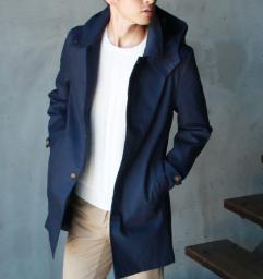 メンズ ステンカラーコート 紺