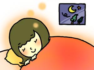 冬 布団にくるまって寝ている女性 イラスト