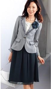 入学式 母親 スカートスーツ グレー